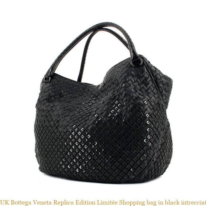 UK Bottega Veneta Replica Edition Limitée Shopping bag in black intrecciato  leather and black paillette 770c53bfad02e