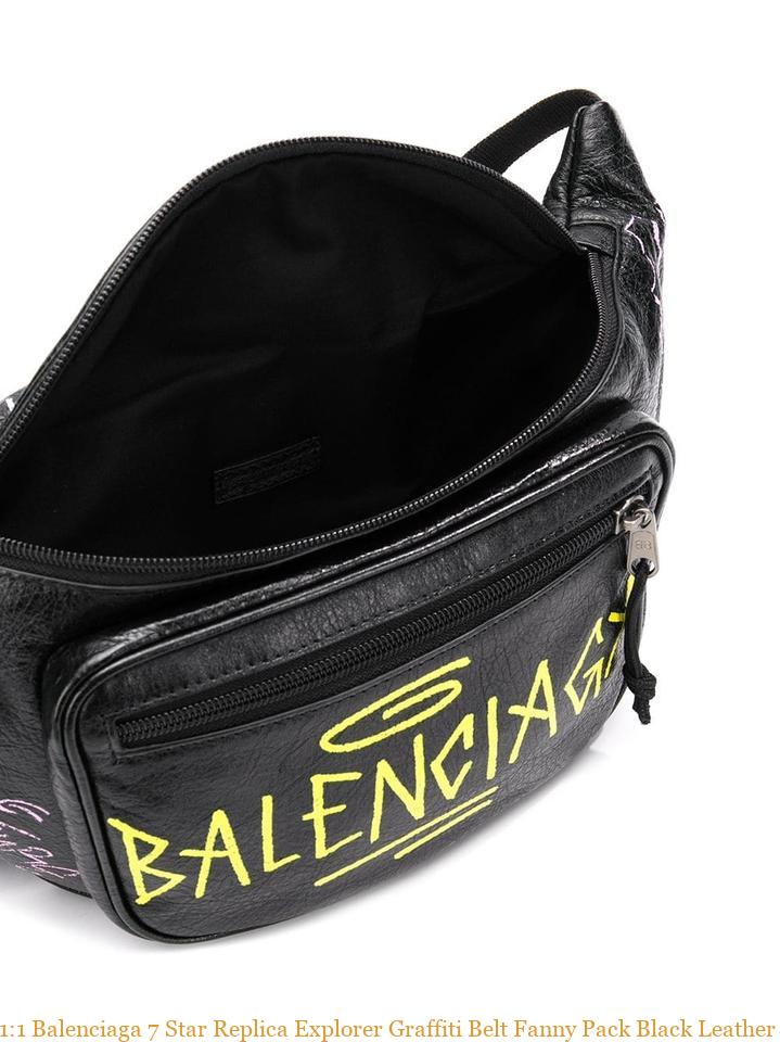 select for authentic undefeated x new products for 1:1 Balenciaga 7 Star Replica Explorer Graffiti Belt Fanny Pack Black  Leather Shoulder Bag balenciaga shoes cheap