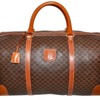 ce2147e87419 Best Céline Designer Replica Macadam Paris Carry On Overnight Brown Leather    Coated Canvas Weekend Travel Bag celine replica bag price