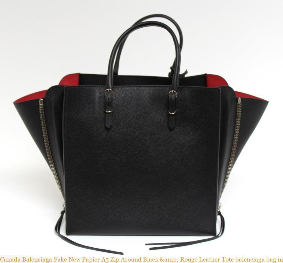 une autre chance f03e5 af987 Canada Balenciaga Fake New Papier A5 Zip Around Black & Rouge Leather Tote  balenciaga bag mini