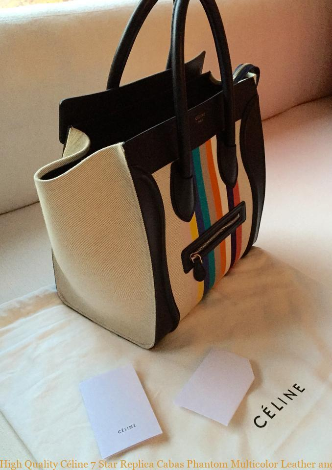87931ab55f72 High Quality Céline 7 Star Replica Cabas Phantom Multicolor Leather and  Canvas Tote celine crossbody