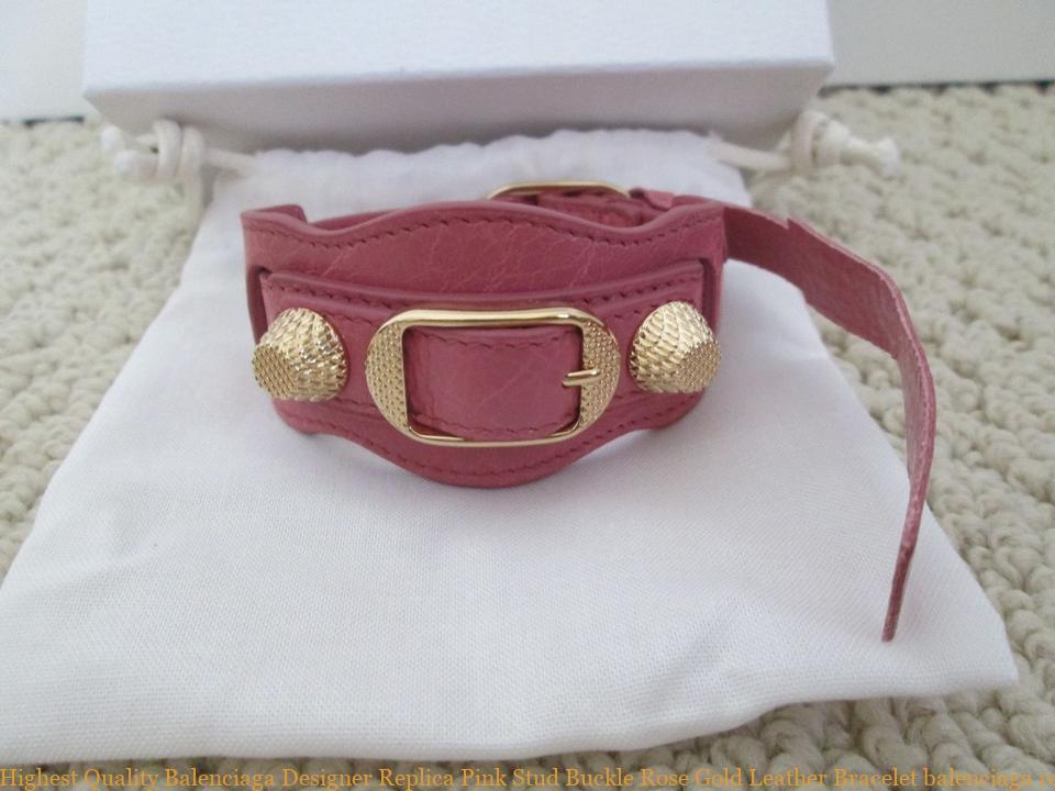 acheter pas cher d7c4d dbca8 Highest Quality Balenciaga Designer Replica Pink Stud Buckle Rose Gold  Leather Bracelet balenciaga replica bag mini