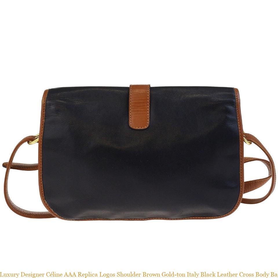 Luxury Designer Céline AAA Replica Logos Shoulder Brown Gold-ton Italy Black Leather Cross Body Bag replica handbags