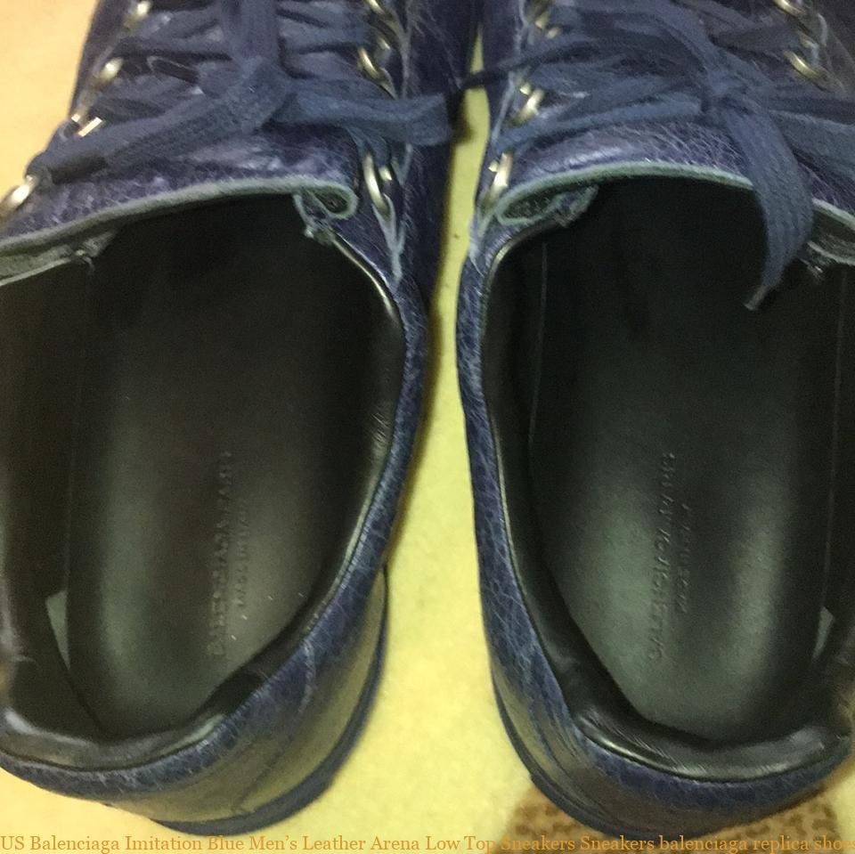 a632f45d8585 US Balenciaga Imitation Blue Men s Leather Arena Low Top Sneakers Sneakers  balenciaga replica shoes cheap